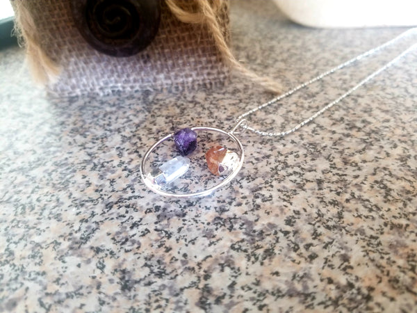 Silver Plated Stone Eternity Pendant with Citrine, Amethyst and Clear Quartz Natural Stone Necklace