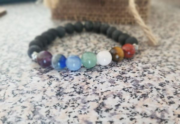 Seven Chakra Stone and Lava Bead Stretch Bracelet