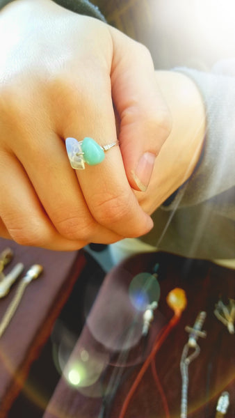 Wire Wrapped Moonstone and Amazonite Ring: The ring of Empowerment