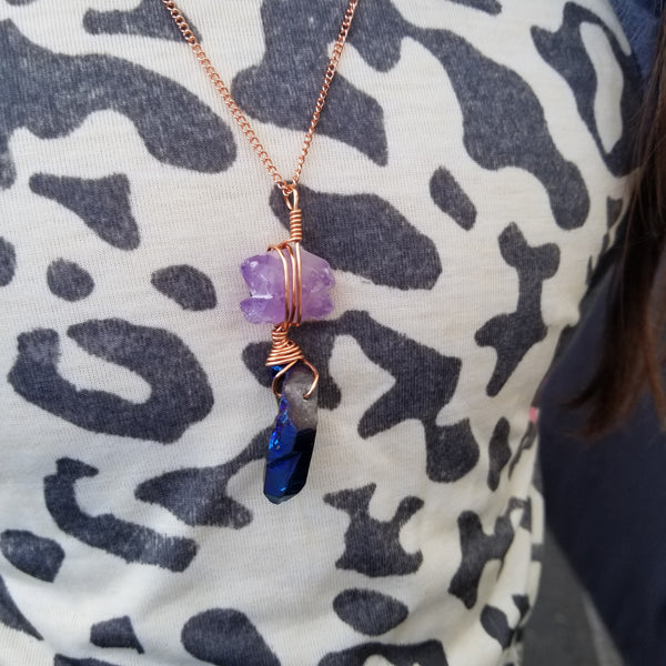 Amethyst and Titanium Quartz Necklace