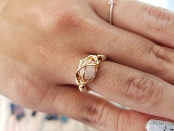 Wire Wrapped Agate Druzy Ring: Gold, Rose Gold, Silver
