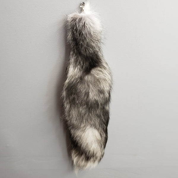 Arctic Fox Tail Keychain, Silver
