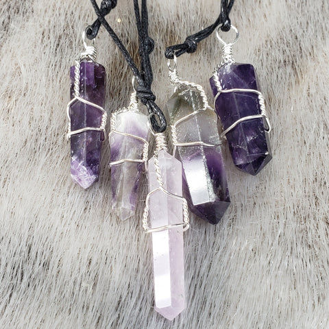 Amethyst Crystal Necklaces, Wire-Wrapped