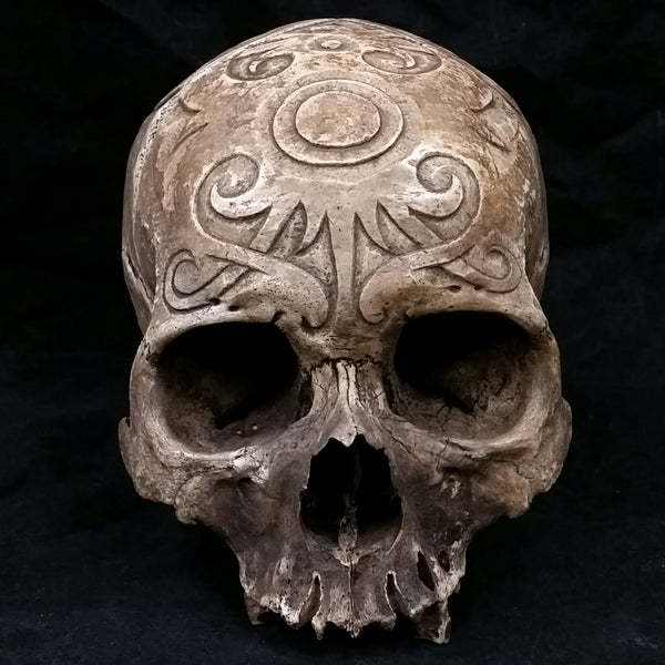 Kenyah Carved Tribal Skull