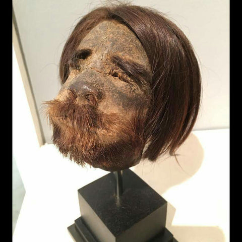 Shrunken Human Head With Stand