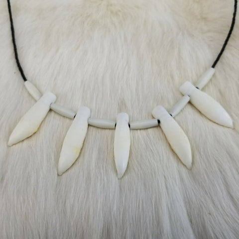 Beluga Whale Tooth Necklace, Métis Crafted