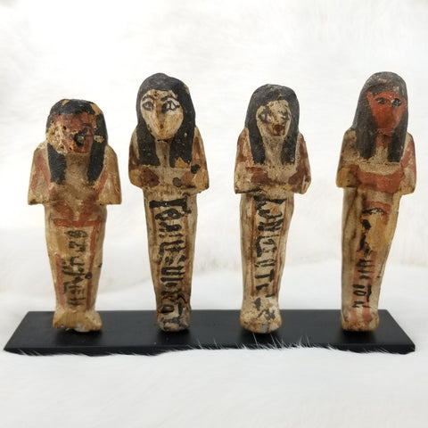 Ancient Egyptian Faience Ushabti Set, Wooden