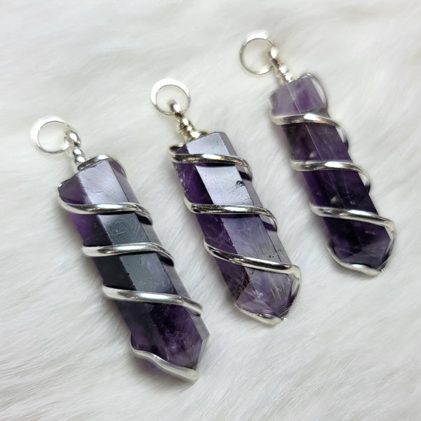Amethyst Crystal Pendants, Wire-Wrapped (SALE)