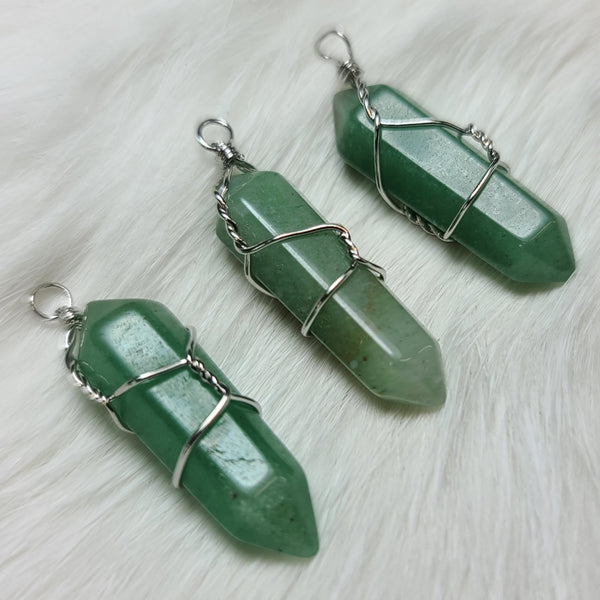 Aventurine Mineral Pendants, Wire-Wrapped (SALE)