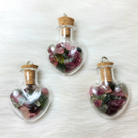 Watermelon Tourmaline Heart Pendants