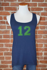 Seattle 12 Curved Hem Tank, Navy
