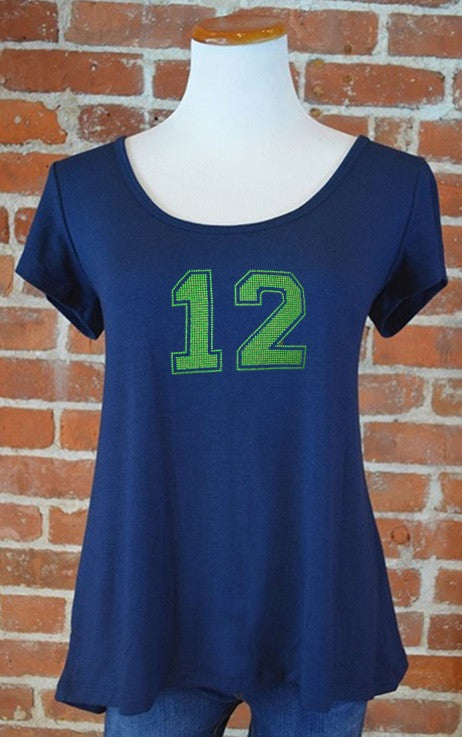 Seattle 12 Crossover Back Tee, Navy