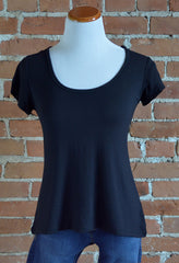 Crossover Back Tee, Black