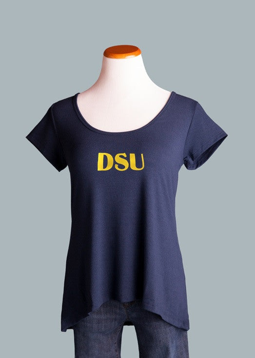 Dakota State University, Crossover Back Tee in Navy