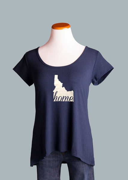 Idaho HOME Crossover Back Tee, Navy