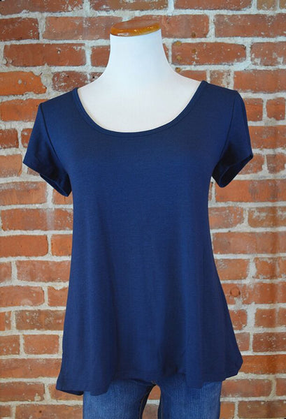 Crossover Back Tee, Navy