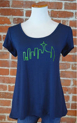 Seattle Skyline Crossover Back Tee, Navy