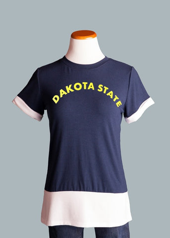 Dakota State University, Colorblock Tee in Navy