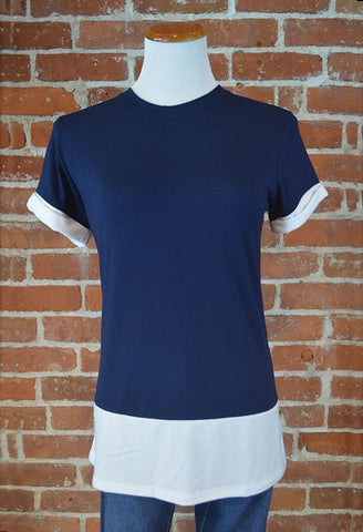 Colorblock Tee, Navy