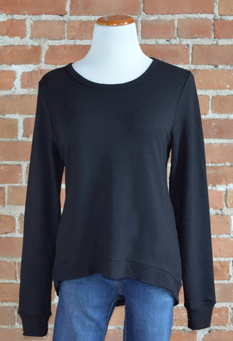 Curved Hem Sweatshirt, Black