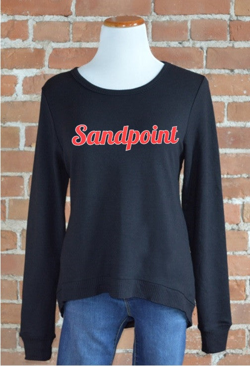 Sandpoint Curved Hem Sweatshirt, Black