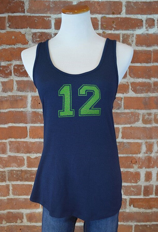 Seattle 12 Crossover Back Tank, Navy