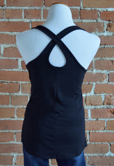 Crossover Back Tank, Black