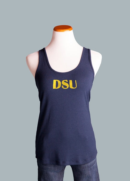 Dakota State University, Crossover Back Tank in Navy