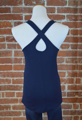 Seattle printed 12, Crossover Back Tank in Navy