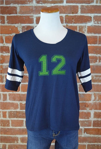 Seattle 12 Ringer Tee, Navy