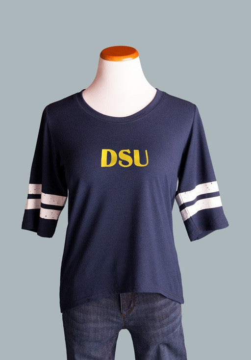 Dakota State University, Ringer Tee in Navy