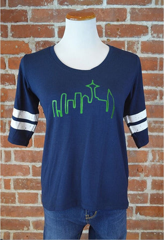 Seattle Skyline Ringer Tee, Navy