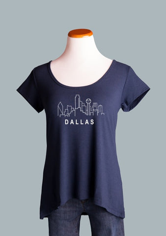 Dallas Skyline, Crossback Tee in Navy