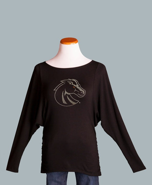 BSU Ruched Side Top with silver Bronco logo