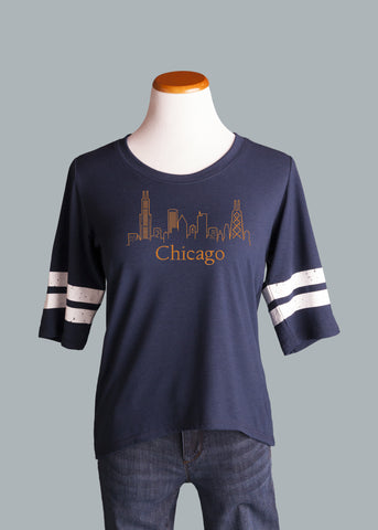 Chicago Skyline Ringer Tee