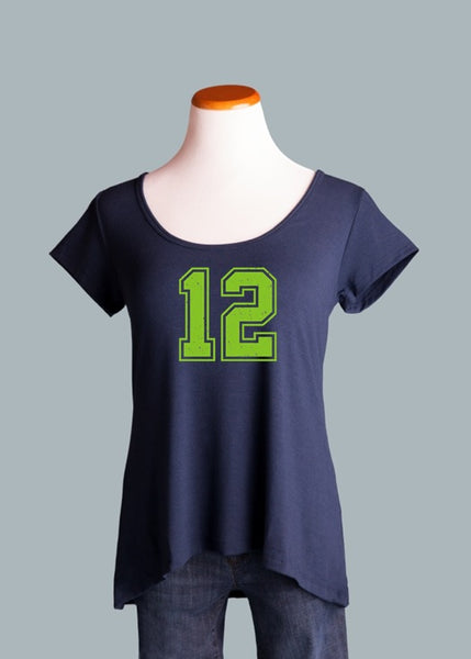 Seattle printed 12, Crossback Tee in Navy