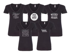 Happy Hour Ladies V-Neck - Black