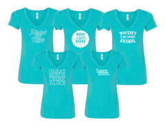 Happy Hour Ladies V-Neck - Tahiti Blue