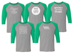 Happy Hour Baseball Tee - Green Sleeves