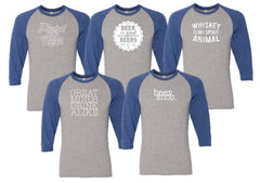 Happy Hour Baseball Tee - Blue Sleeves