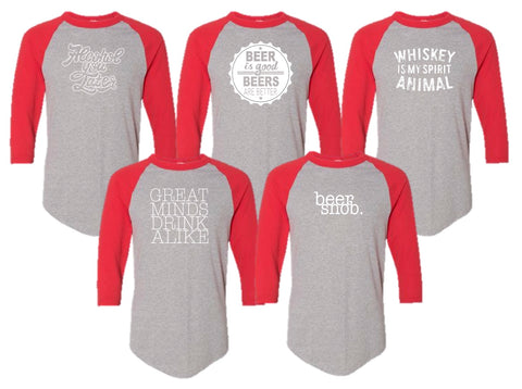 Happy Hour Baseball Tee - Red Sleeves