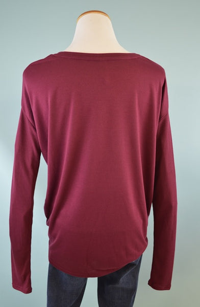 Be Merry Rib Sleeve Tee in Maroon