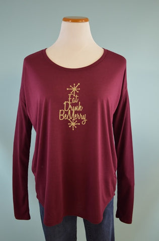 Eat, Drink and Be Merry Rib Sleeve Tee in Maroon