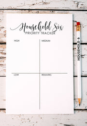 Household Six Tracker Notepad