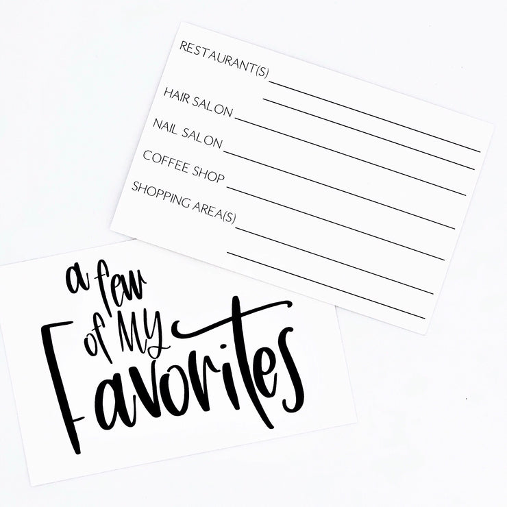 Favorites Note Card Set of 5