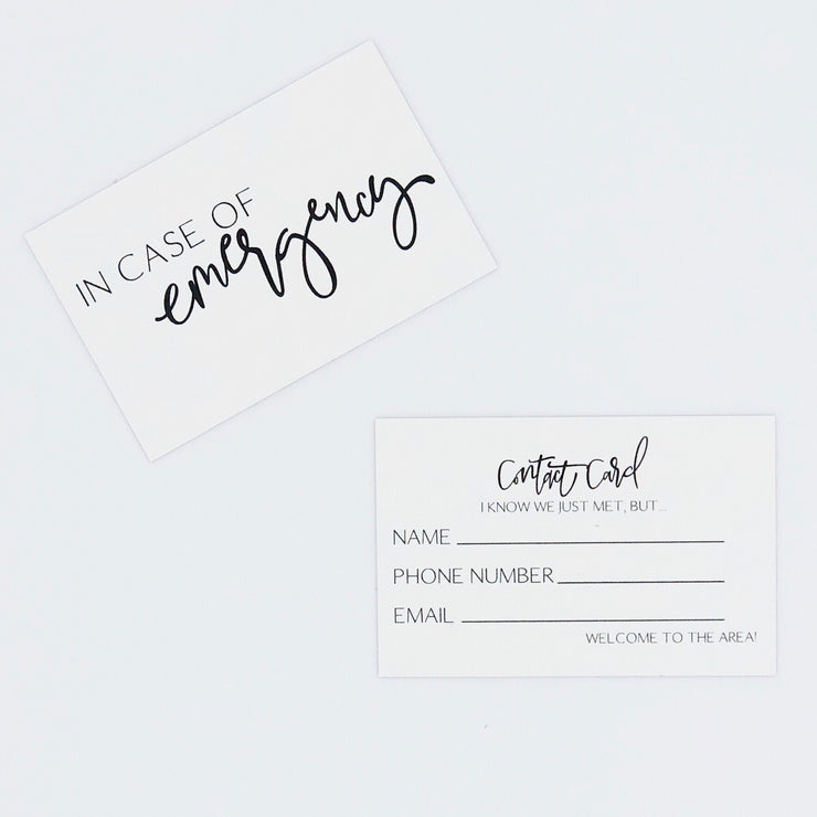 Emergency Contact Cards Set of 5