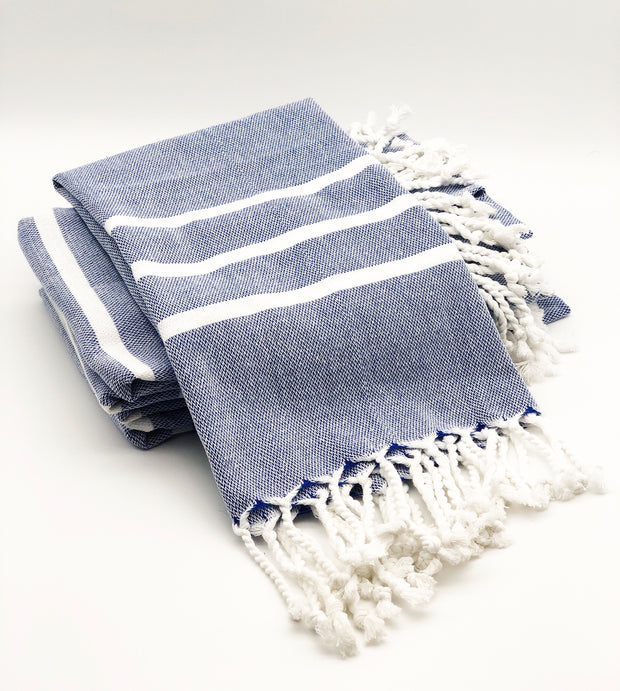 "Blue/White Turkish Hand Towel 18"" x 40"""