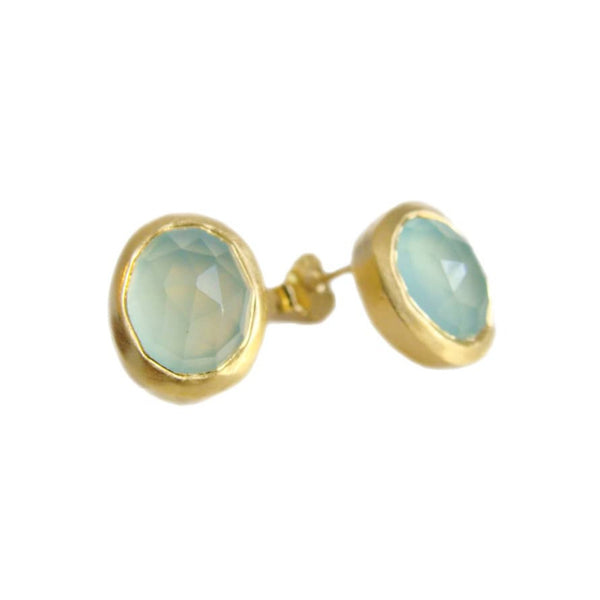 Aqua Chalcedony Stud Earrings, Gold