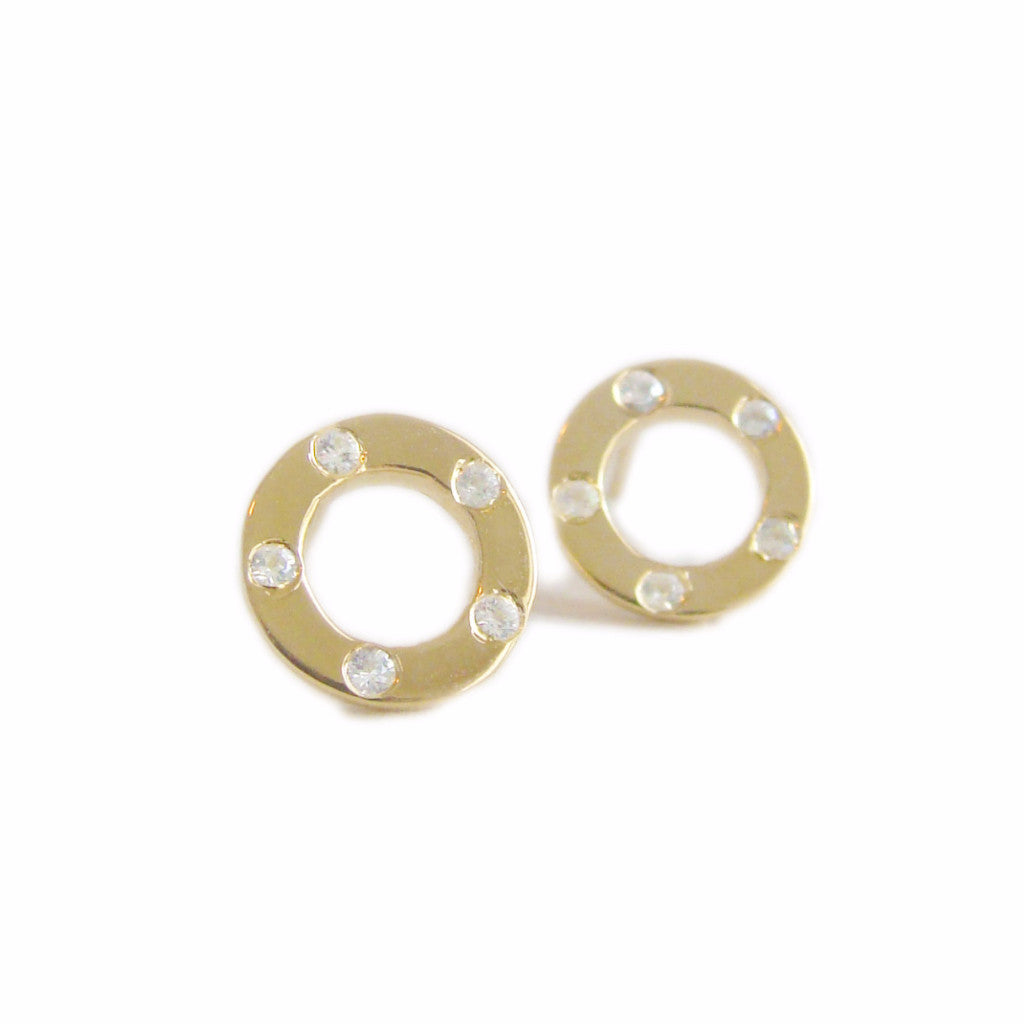 TOPAZ CIRCLE STUDS - GOLD