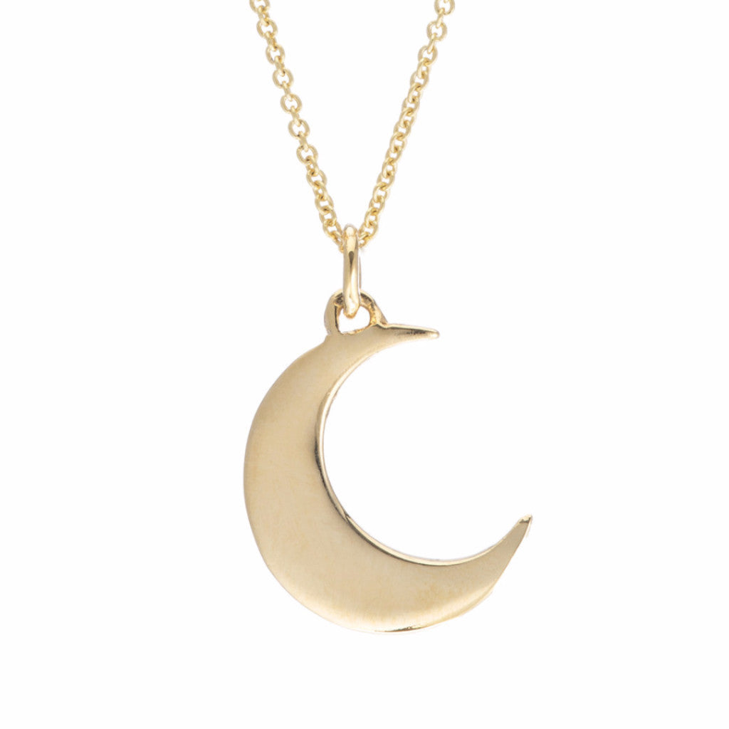 image necklace influence vermeil crescent mini necklaces gold female muru pendant moon